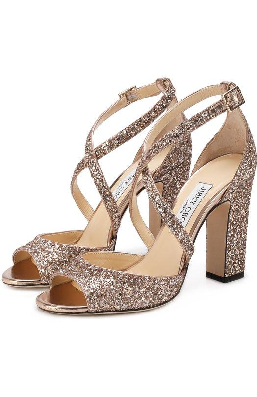 Купить Босоножки Carrie 100 с глиттером на устойчивом каблуке Jimmy Choo, CARRIE 100/SA0, Италия, Светло-розовый, Текстиль: 85%; Кожа: 15%; Подкладка-кожа: 100%; Стелька-кожа: 100%; Подошва-кожа: 100%;