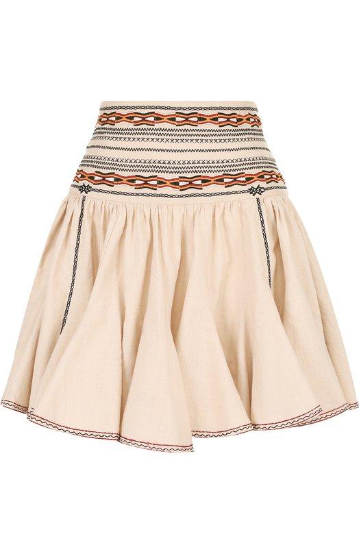 Хлопковая мини-юбка с контрастной вышивкой Isabel Marant Etoile, JU0754-18P032E/BREEDA, Индия, Бежевый, Хлопок: 100%; Отделка-вискоза: 100%;  - купить