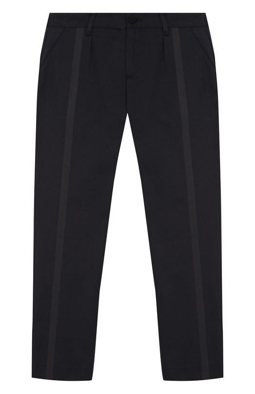 Купить Хлопковые брюки с отделкой Armani Junior, 6Y4P02/4N1QZ/11A-16A, Румыния, Темно-синий, Хлопок: 97%; Эластан: 3%;