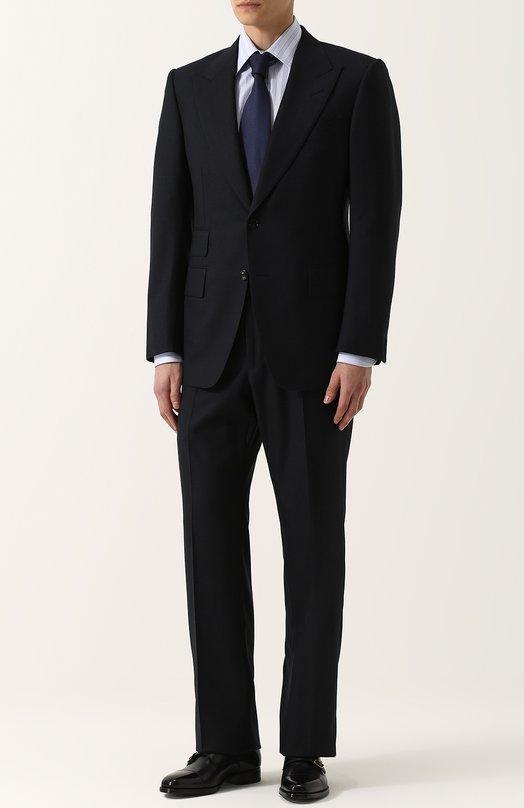 Купить Шерстяной костюм с пиджаком на двух пуговицах Tom Ford, 222R91/21AL41, Италия, Темно-синий, Подкладка-шелк: 50%; Подкладка-купра: 50%; Шерсть: 100%;