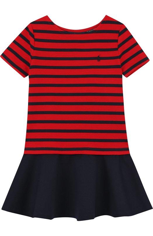 Купить Мини-платье джерси в полоску Polo Ralph Lauren, 311680211, Китай, Красный, Полиэстер: 73%; Эластан: 4%; Вискоза: 29%;