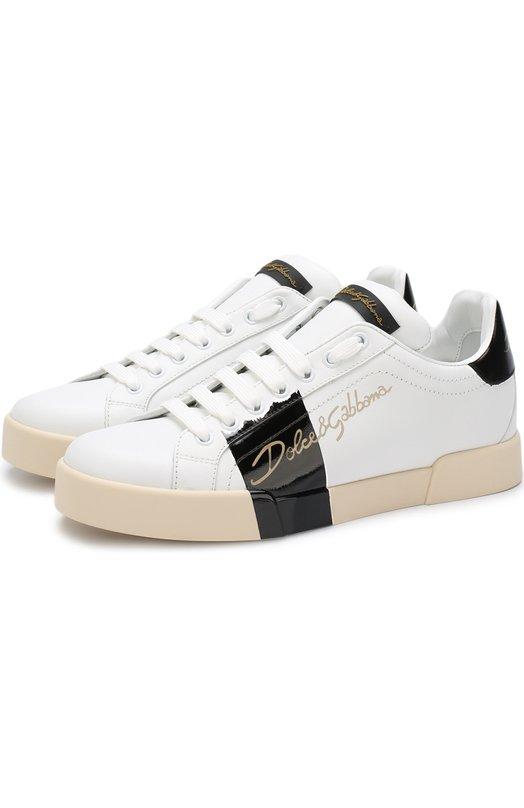 Купить Кожаные кеды Portofino с контрастной отделкой Dolce & Gabbana, 0112/CK0150/AH358, Италия, Черно-белый, Кожа натуральная: 100%; Стелька-кожа: 100%; Подошва-резина: 100%;
