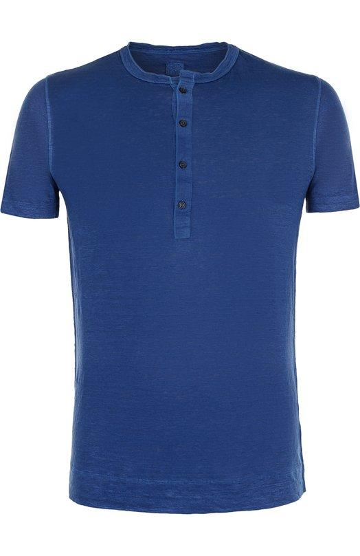 Купить Льняная футболка хенли 120% Lino, N0M7672/E908/301, Болгария, Синий, Лен: 100%;
