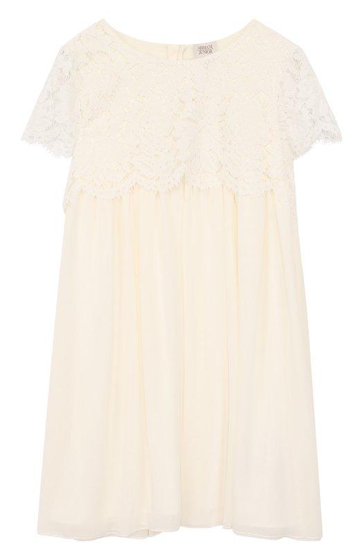 Купить Платье свободного кроя с кружевной отделкой Armani Junior, 6Y3A12/3NDMZ/11A-16A, Китай, Белый, Отделка-хлопок: 34%; Отделка-полиамид: 34%; Отделка-вискоза: 32%; Полиэстер: 100%; Подкладка-полиэстер: 100%;