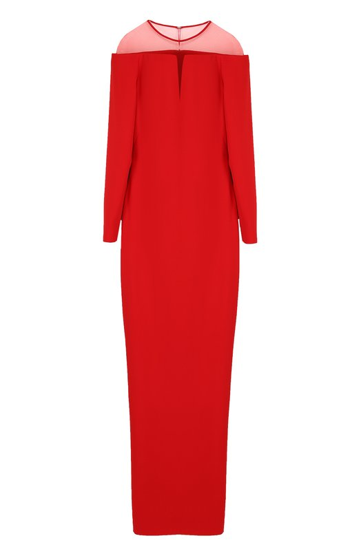 Купить Шелковое платье-макси с полупрозрачной вставкой Tom Ford, AB2022-FAX230, Италия, Красный, Шелк: 100%; Подкладка-шелк: 100%;
