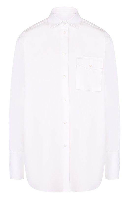 Купить Однотонная хлопковая блуза свободного кроя Valentino, PB3AB09V/1M1, Италия, Белый, Хлопок: 100%;