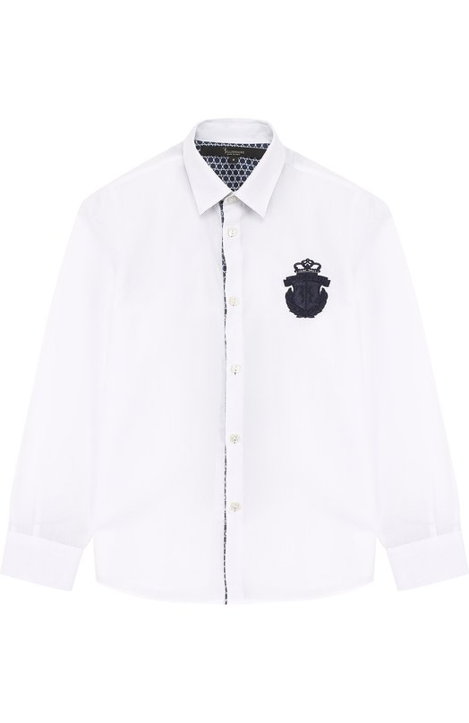 Купить Хлопковая рубашка с вышивкой Billionaire, 017C BRP_0007 BTE002N/4-10, Италия, Белый, Хлопок: 97%; Эластан: 3%;