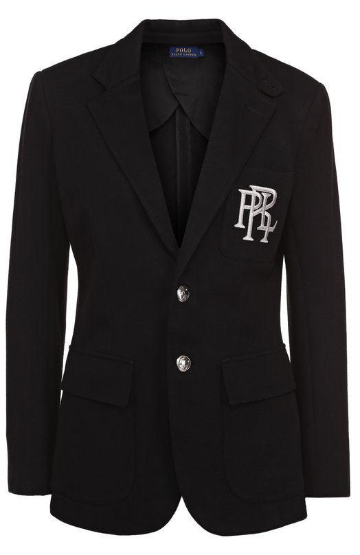 Купить Приталенный однотонный жакет с логотипом бренда Polo Ralph Lauren, V38/XZ8NL/XY8NL, Китай, Черный, Хлопок: 58%; Вискоза: 42%;