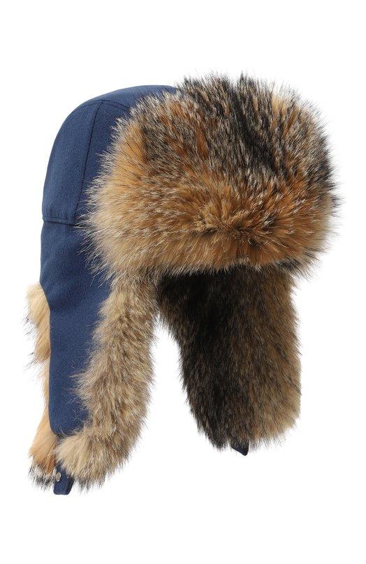 Купить Кашемировая шапка-ушанка Alaskan с меховой отделкой Loro Piana, FAG4559, Италия, Темно-синий, Кашемир: 100%; Отделка мех/лиса/: 100%; Подкладка-кашемир: 100%; Подкладка-мех/лисица/Lycalopex Griseus: 100%;