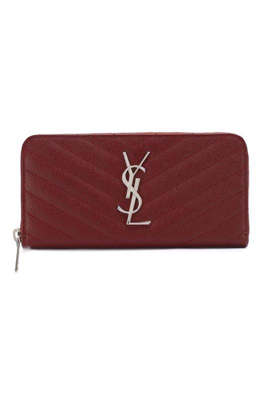 Купить Кожаный кошелек Monogram на молнии с логотипом бренда Saint Laurent, 358094/B0W02, Италия, Красный, Кожа натуральная: 100%;