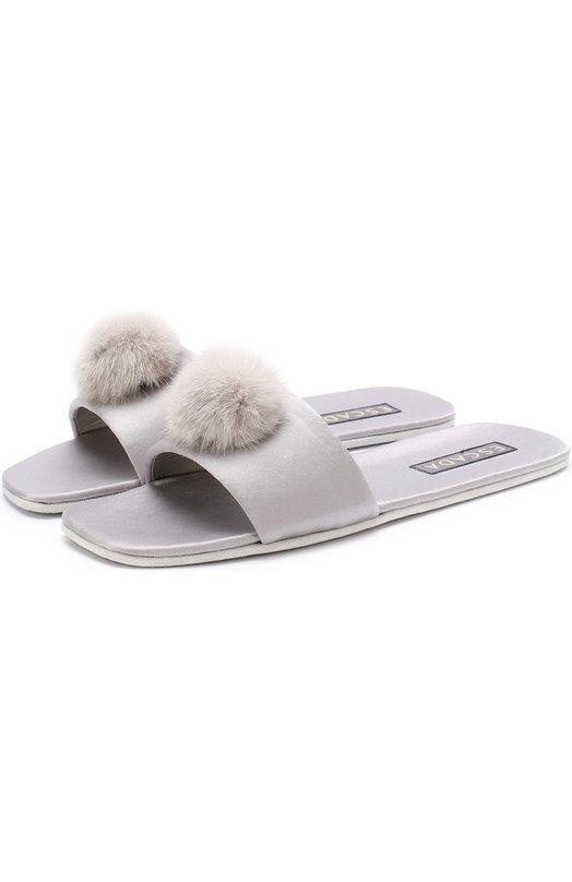 Купить Атласные домашние туфли с отделкой из меха норки Escada, 5026098, Италия, Светло-серый, Триацетат: 82%; Полиэстер: 18%; Стелька-текстиль: 100%; Подошва-замша: 100%; Отделка мех./норка/: 100%;