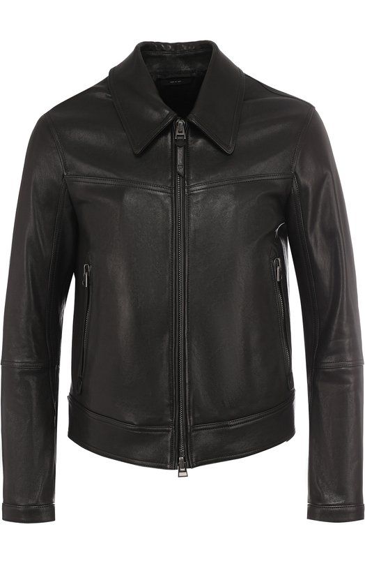 Купить Кожаная куртка на молнии с отложным воротником Tom Ford, BP472/TFL662, Италия, Черный, Подкладка-купра: 55%; Подкладка-хлопок: 45%; Кожа натуральная: 100%;