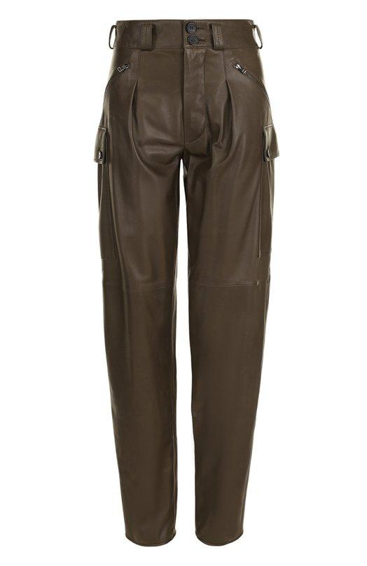 Купить Однотонные кожаные брюки с защипами Tom Ford, PAL640-LEX177, Италия, Хаки, Подкладка-шелк: 94%; Подкладка-эластан: 6%; Кожа натуральная: 100%;