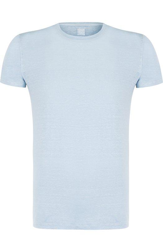Купить Льняная футболка с круглым вырезом 120% Lino, N0M7288/E908/301, Болгария, Голубой, Лен: 100%;