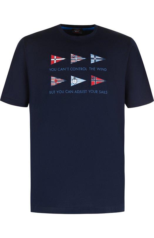 Купить Хлопковая футболка с нашивками Paul&Shark, E18P1119, Италия, Темно-синий, Хлопок: 100%;