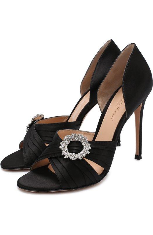 Купить Атласные туфли Cinema с брошью на шпильке Gianvito Rossi, G60177.15RIC.RASNER0, Италия, Черный, Стелька-кожа: 100%; Подошва-кожа: 100%; Текстиль: 100%;