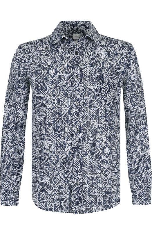 Купить Льняная рубашка с принтом 120% Lino, N0M1425/F493/001, Болгария, Белый, Лен: 100%;
