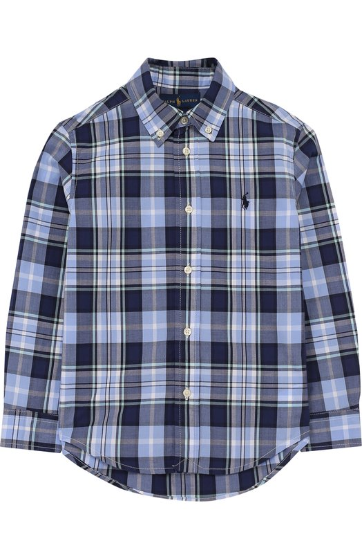 Купить 322683874, Хлопковая рубашка с принтом и воротником button down Polo Ralph Lauren, Индонезия, Синий, Хлопок: 100%;, Мужской, Рубашки
