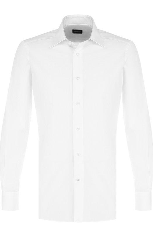 Купить Хлопковая сорочка с воротником кент Ermenegildo Zegna, 203990/9MS0PA, Румыния, Белый, Хлопок: 100%;
