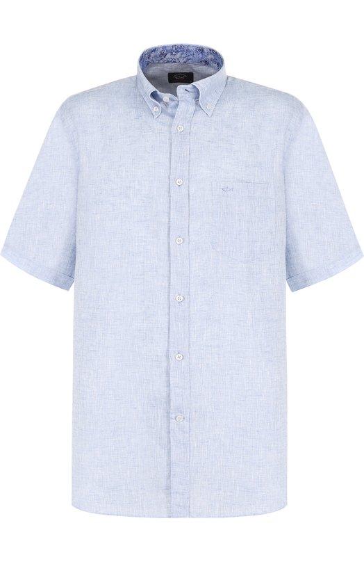 Купить Льняная рубашка с воротником button down Paul&Shark, E18P3153, Италия, Голубой, Лен: 100%;