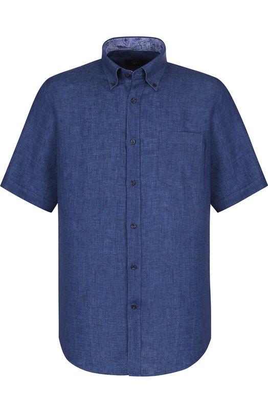 Купить Льняная рубашка с воротником button down Paul&Shark, E18P3153, Италия, Синий, Лен: 100%;