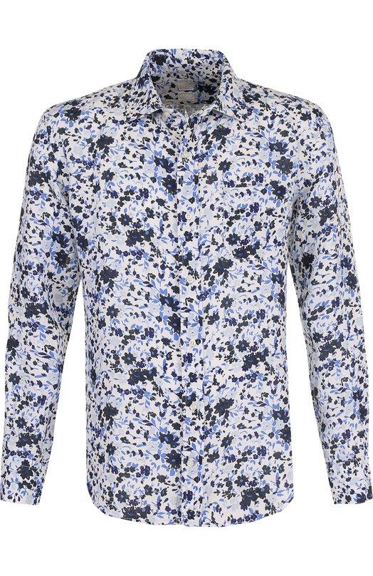 Купить Льняная рубашка с принтом 120% Lino, N0M1533/F489/001, Италия, Синий, Лен: 100%;