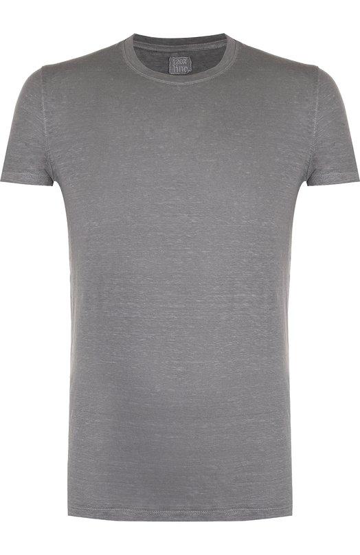 Купить Льняная футболка с круглым вырезом 120% Lino, N0M7288/E908/301, Болгария, Серый, Лен: 100%;