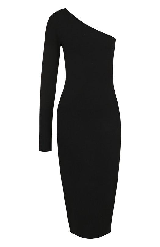 Купить Однотонное платье-футляр асимметричного кроя Diane Von Furstenberg, 10993DVF, Китай, Черный, Вискоза: 83%; Полиэстер: 17%;