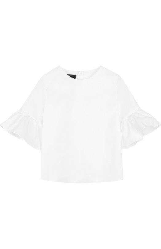 Хлопковая блуза с оборками на рукавах Oscar de la Renta