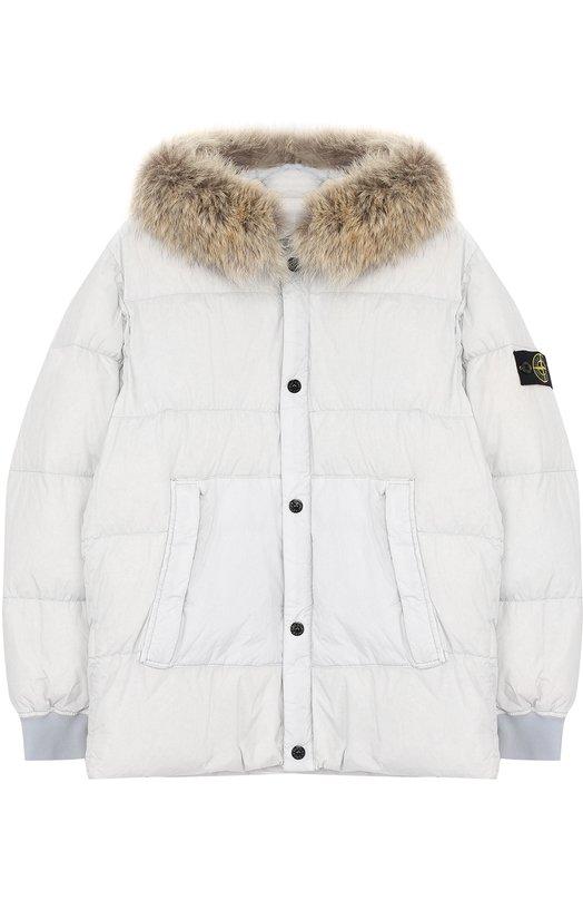 Купить Пуховая куртка с меховой отделкой на капюшоне Stone Island, 671640933/6-8, Индонезия, Серый, Пух: 80%; Перо: 20%; Полиамид: 100%; Подкладка-полиамид: 100%;