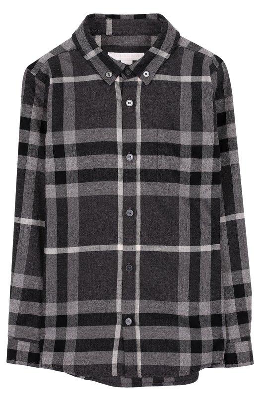 Купить Хлопковая рубашка с принтом и воротником button down Burberry, 4061108, Таиланд, Серый, Хлопок: 100%;