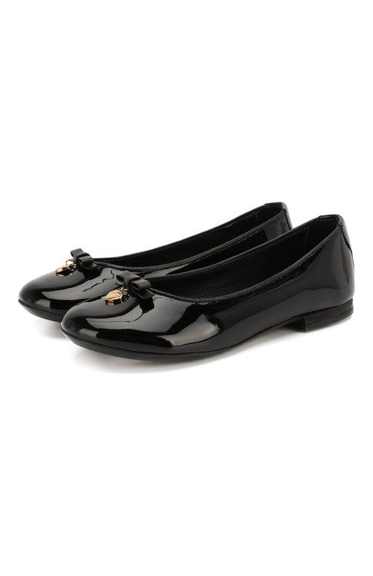 Купить Лаковые балетки с бантами Dolce & Gabbana, D10341/A1328/29-36, Италия, Черный, Кожа натуральная: 100%; Стелька-кожа: 100%; Подошва-резина: 100%;