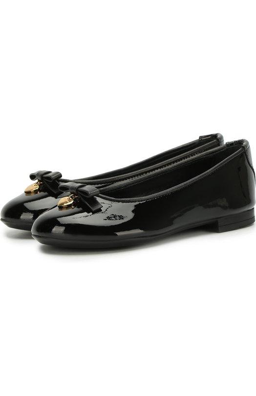 Купить Лаковые балетки с бантами Dolce & Gabbana, D10341/A1328/24-28, Италия, Черный, Кожа натуральная: 100%; Стелька-кожа: 100%; Подошва-резина: 100%;