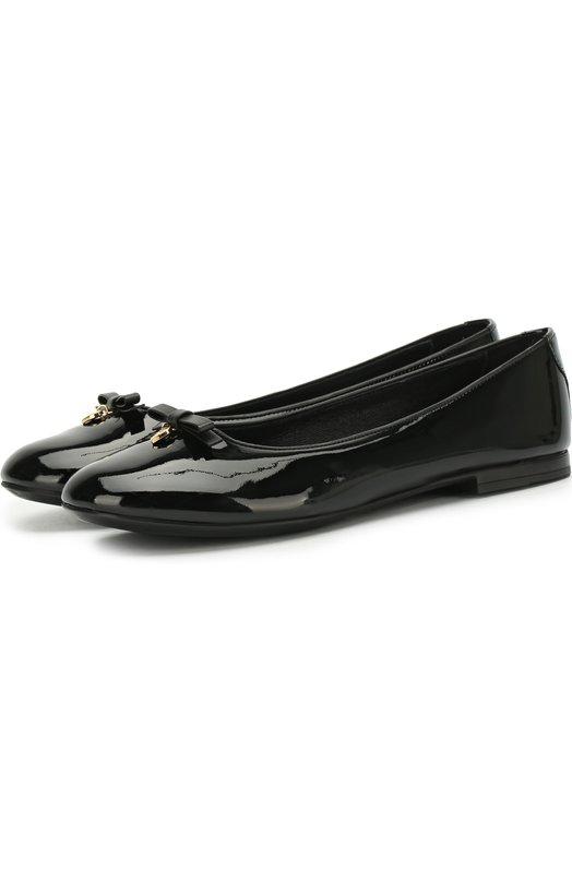 Купить Лаковые балетки с бантами Dolce & Gabbana, D10341/A1328/37-39, Италия, Черный, Кожа натуральная: 100%; Стелька-кожа: 100%; Подошва-резина: 100%;