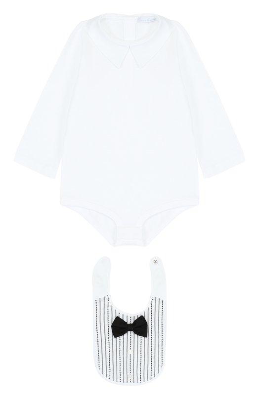 Купить Хлопковый комплект из боди с нагрудником Dolce & Gabbana, L1UG59/FB5M7, Италия, Белый, Хлопок: 100%;