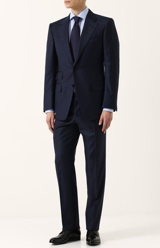 Купить Шерстяной костюм с пиджаком на двух пуговицах Tom Ford, 322R02/21AA43, Италия, Темно-синий, Подкладка-шелк: 50%; Подкладка-купра: 50%; Шерсть: 100%;