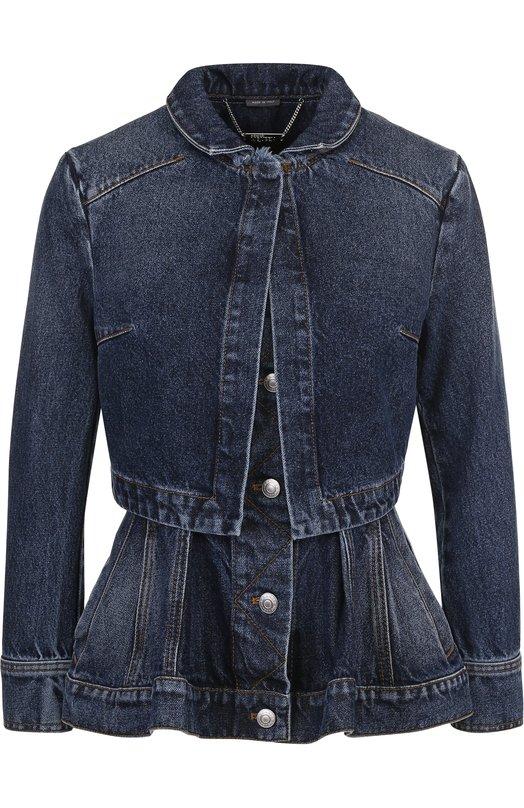 Купить Приталенная джинсовая куртка с потертостями и баской Alexander McQueen, 506275/QKM02, Италия, Синий, Хлопок: 100%;