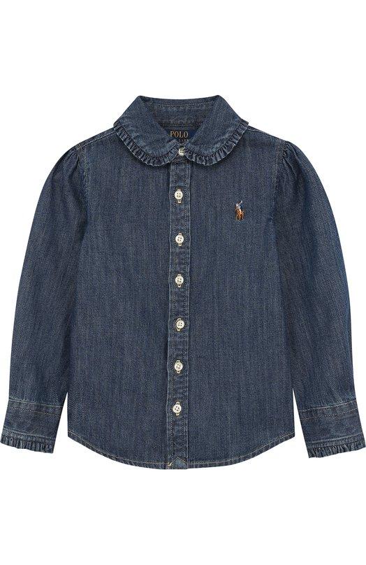 Купить Рубашка из денима с оборками Polo Ralph Lauren, 312680547, Китай, Синий, Хлопок: 100%;