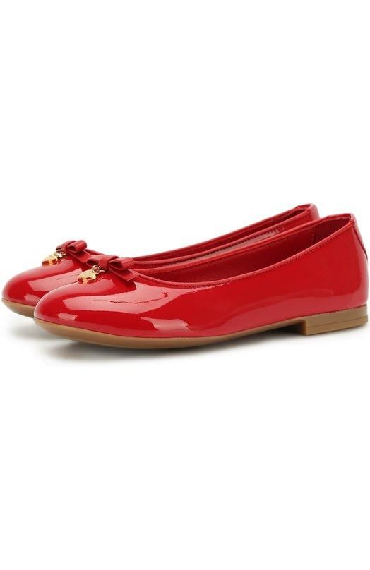 Купить Лаковые балетки с бантами Dolce & Gabbana, D10341/A1328/29-36, Италия, Красный, Кожа натуральная: 100%; Стелька-кожа: 100%; Подошва-резина: 100%;