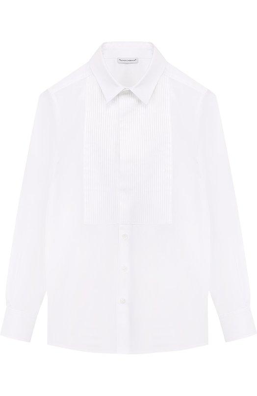Купить Хлопковая рубашка с отделкой Dolce & Gabbana, L41S70/FU5GK/8-14, Италия, Белый, Хлопок: 100%;