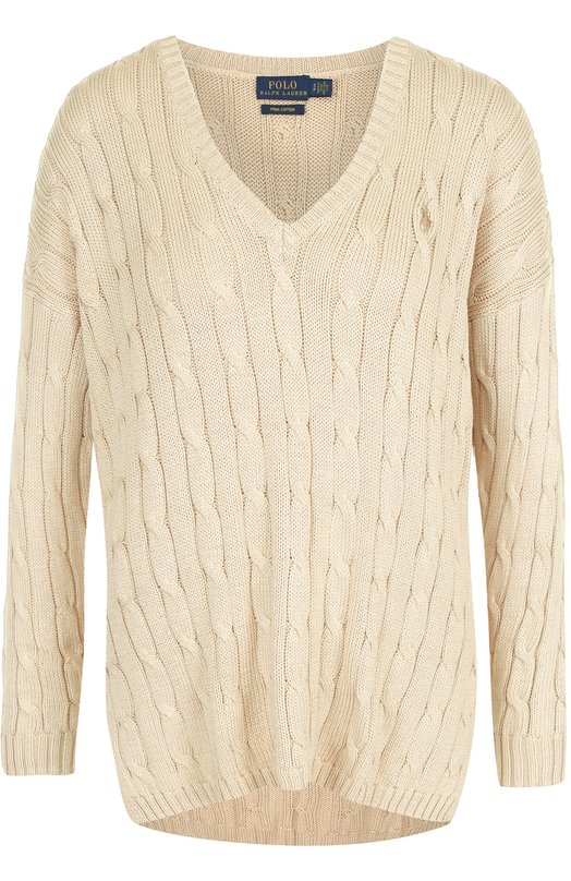 Купить Хлопковый пуловер фактурной вязки с V-образным вырезом Polo Ralph Lauren, 211591795, Китай, Бежевый, Хлопок: 100%;