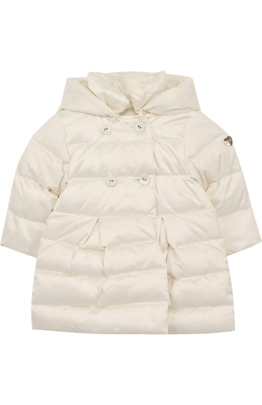 Купить Пуховое пальто с капюшоном Armani Junior, 6YEL01/3NDCZ, Китай, Белый, Пух: 80%; Перо: 20%; Полиэстер: 100%; Подкладка-хлопок: 100%;