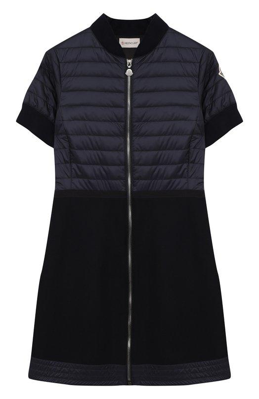 Купить Шерстяное платье на молнии с отделкой Moncler Enfant, C2-954-67002-05-53048/12-14A, Румыния, Синий, Шерсть: 80%; Подкладка-ацетат: 56%; Подкладка-вискоза: 44%; Полиакрил: 20%; Полиамид: 20%;