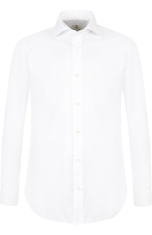 Купить Хлопковая сорочка с воротником акула Luigi Borrelli, EV08/TS5402, Италия, Белый, Хлопок: 100%;