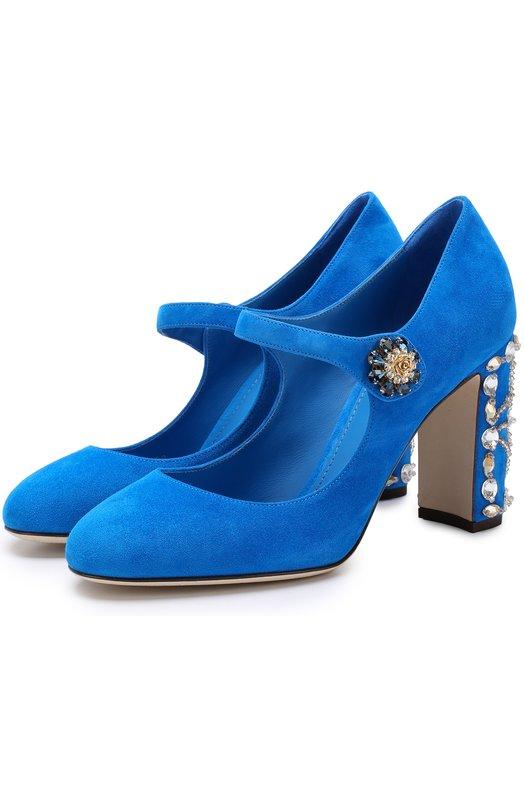 Купить Замшевые туфли Vally на декорированном каблуке Dolce & Gabbana, CD0684/AI884, Италия, Синий, Стелька-кожа: 100%; Подошва-кожа: 100%; Замша натуральная: 100%;