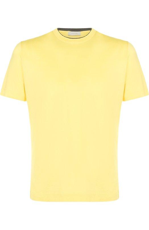 Купить Хлопковая футболка с круглым вырезом Cortigiani, 416607/0500, Италия, Желтый, Хлопок: 100%;