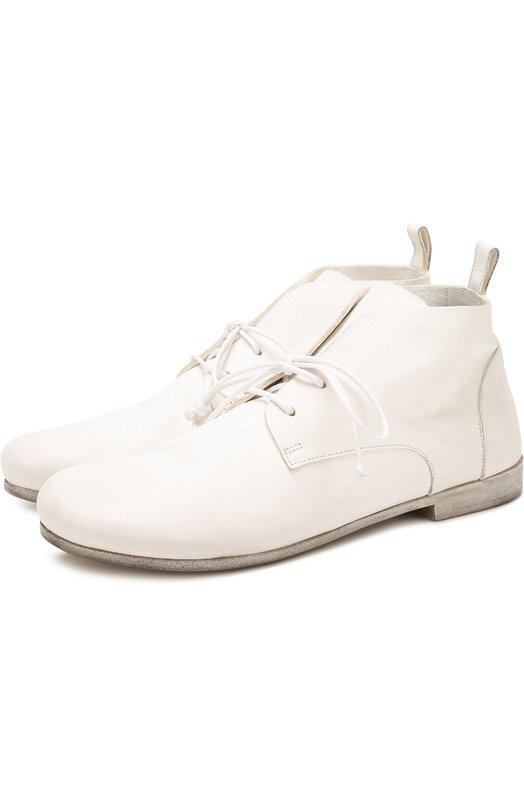 Купить Кожаные ботинки с эффектом состаривания Marsell, MW1819/VACCH.V0L0NATA, Италия, Белый, Кожа натуральная: 100%; Стелька-кожа: 100%; Подошва-кожа: 100%;