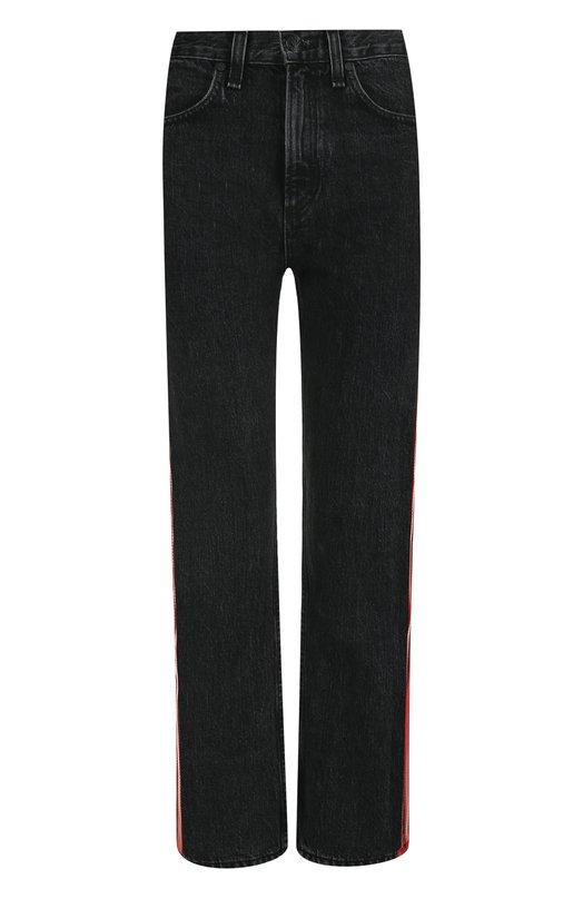 Купить Укороченные джинсы с контрастными лампасами и потертостями Rag&Bone, W2512M751BRD, США, Черный, Хлопок: 100%;