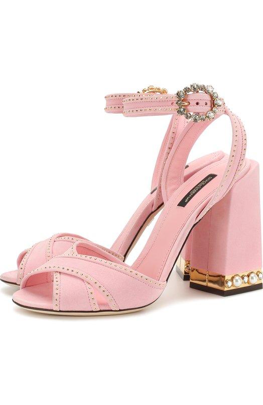 Купить Замшевые босоножки Keira на массивном каблуке Dolce & Gabbana, CR0482/AN149, Италия, Розовый, Стелька-кожа: 100%; Подошва-кожа: 100%; Замша натуральная: 100%;