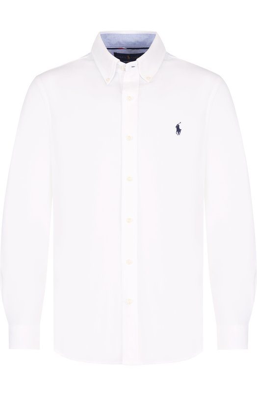 Купить Хлопковая рубашка с воротником button down Polo Ralph Lauren, 710683857, Китай, Белый, Хлопок: 100%;